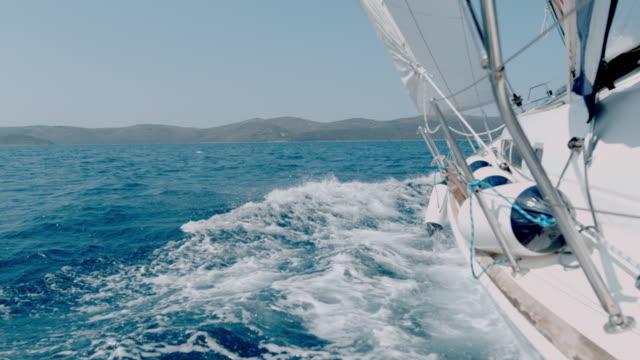 MS Slow motion Sailboat heeling along sunny blue ocean,Croatia