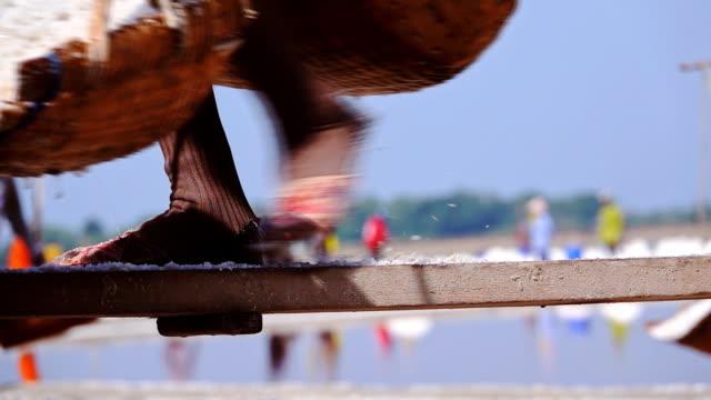HD Slow motion: Salt farming, Worker gather salt go to barn