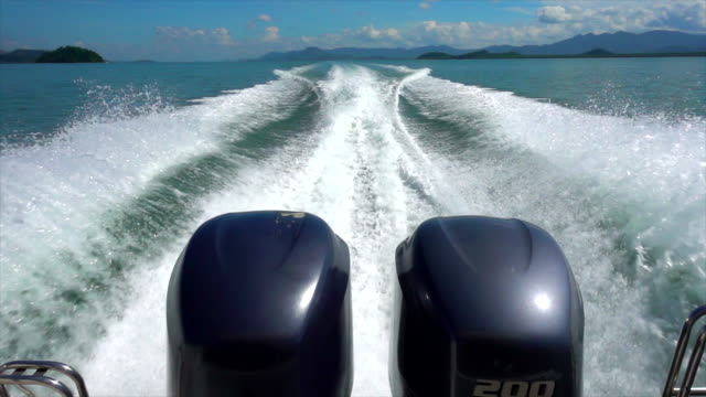 Slow Motion Sea waves caused by speedboats