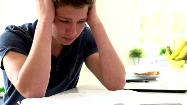 Slow Motion Sequence Of Depressed Boy Studying At Home video