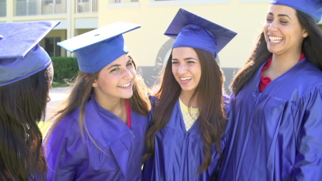 Slow Motion Sequence Of High School Students At Graduation video