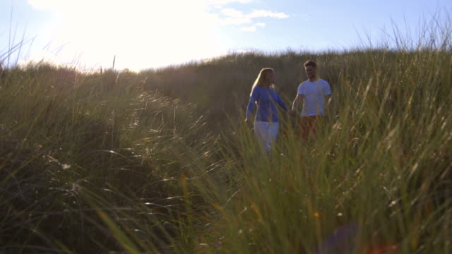 Slow motion sequence of romantic couple walking through sand dunes holding hands video