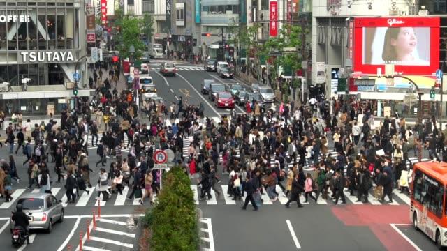 zeitlupe: kreuzung shibuya, tokio - überweg warnschild stock-videos und b-roll-filmmaterial