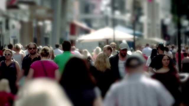 Slow Motion, Shopping Street, Crowd, Group of People, City, Sameness video