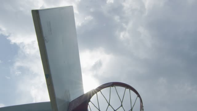 Slow motion shot around a basketball hoop video