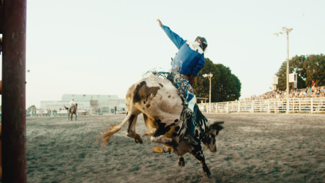 slow motion shot from inside an animal pen of a latino bull rider competing in a bull riding event before being thrown from the bull's back while the rodeo clown distracts the bull in a stadium full of people at sunset - kapelusz kowbojski filmów i materiałów b-roll