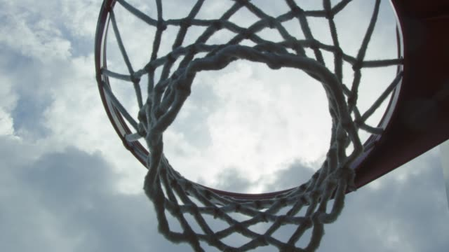 Slow motion shot moving up from underneath of basketball net video