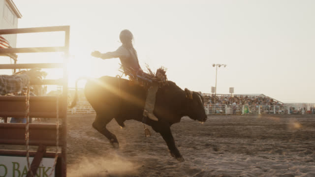 Slow Motion Shot of a Bull Rider Competing in a Bull Riding Event in a Stadium Full of People at Sunset