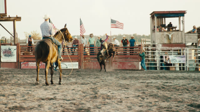 Slow Motion Shot of a Bull Rider Competing in a Bull Riding Event before Being Thrown from the Bull's Back while the Rodeo Clown Distracts the Bull and Horseback Riders with Ropes Watch in a Stadium Full of People at Sunset