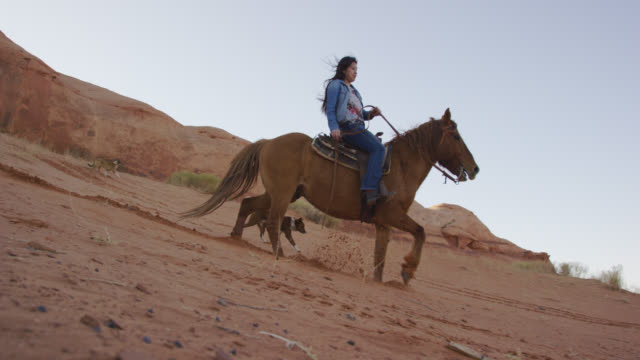 Slow Motion Shot of a Teenaged Native American Girl (Navajo) Riding Her Horse Down a Steep Hill with Her Pet Dogs in the Monument Valley Desert in Arizona/Utah at Sunset Next to a Large Rock Formation Slow Motion Shot of a Teenaged Native American Girl (Navajo) Riding Her Horse Down a Steep Hill with Her Pet Dogs in the Monument Valley Desert in Arizona/Utah at Sunset Next to a Large Rock Formation minority groups stock videos & royalty-free footage