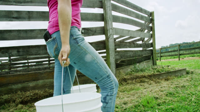 Slow Motion Shot of a Young Woman Carrying Five Gallon Buckets Past a Horse Corral on a Farm on a Partly Cloudy Day