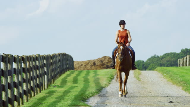 Slow Motion Shot of a Young Woman in Her Thirties Wearing a Helmet Riding Her Brown Horse on a Sunny Day on a Horse Farm Next to a Wooden Fence with a Large Pile of Hay in the Background