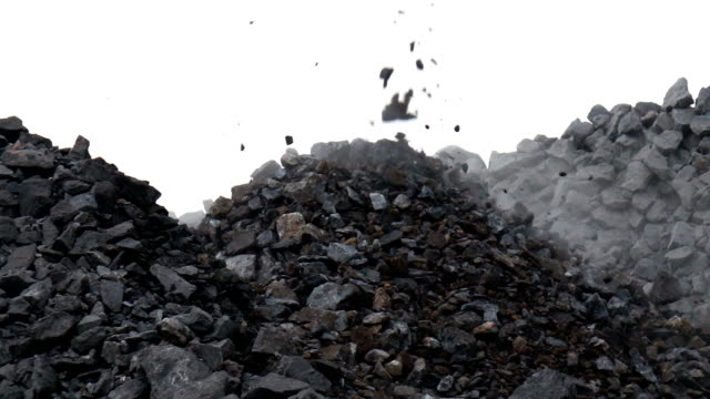 Slow motion shot of crushing stone. Falling rocks in quarry mine industry
