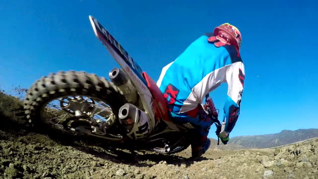 Slow Motion shot of Extreme Motocross Rider On Dirt Track Super slow motion shot of motocross rider on dirt track motocross stock videos & royalty-free footage