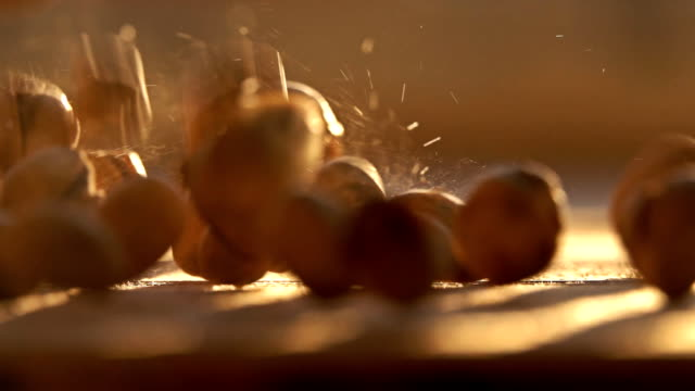 Slow motion shot of falling pistachios video