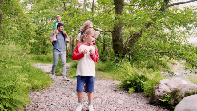 slow motion shot of family hiking along path by river in uk lake district - trekking video stock e b–roll