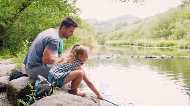 vídeos de stock, filmes e b-roll de rochas de shot câmera lenta da família sentada pesca com redes no rio, no distrito de lake, uk - pai e filha