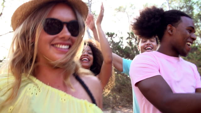 Slow Motion Shot Of Friends Having Party On Beach Together video