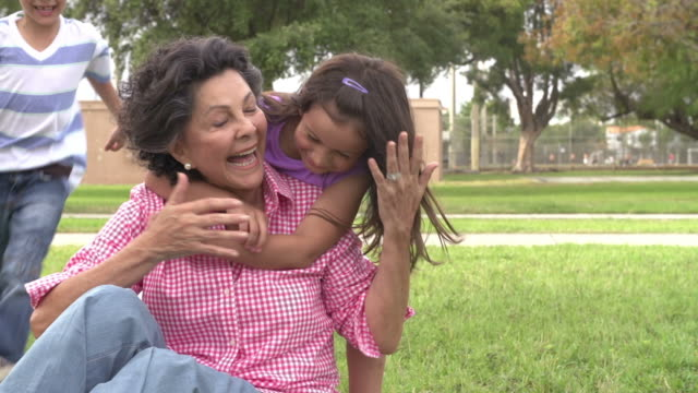 Slow Motion Shot Of Grandmother With Grandchildren In Park video