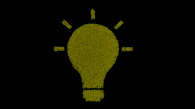 Slow motion shot of Light Bulb Icon Idea Creativity Concept transformation on Black Background