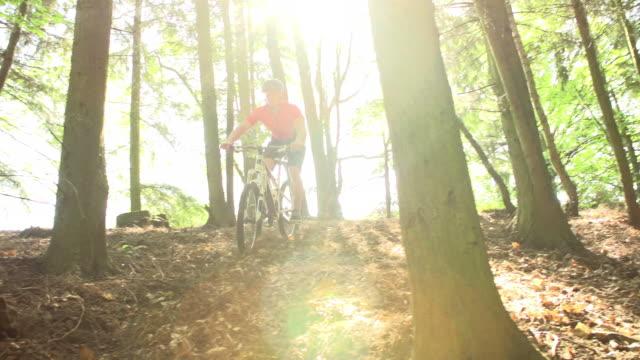 Slow Motion Shot Of Man Riding Mountain Bike Through Woods video