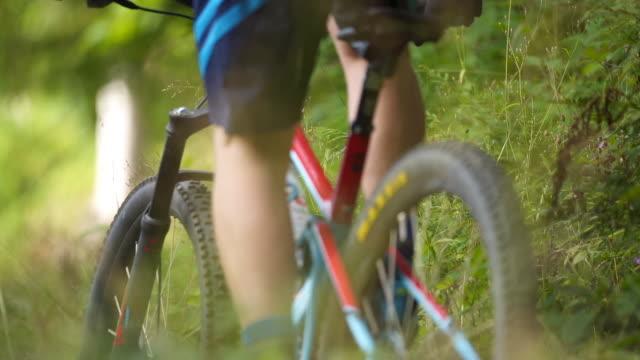 scatto al rallentatore di mountain biker che scendono da un sentiero di montagna attraverso il bosco - percorso per bicicletta video stock e b–roll