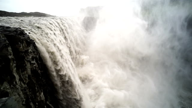 Slow motion shot of powerful Dettifoss video