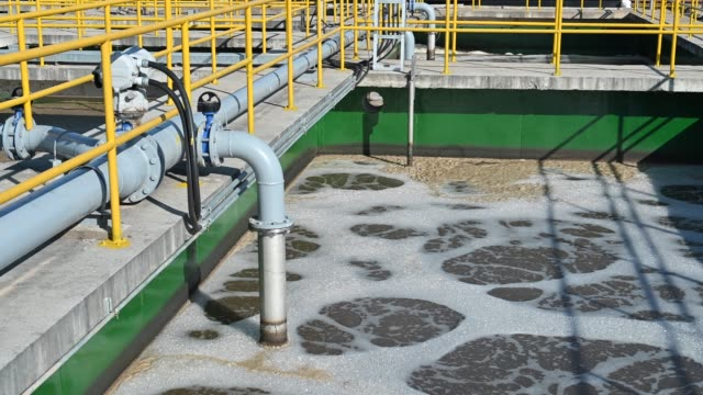 Slow motion shot of sewage in water treatment process in Sewage Treatment Plant