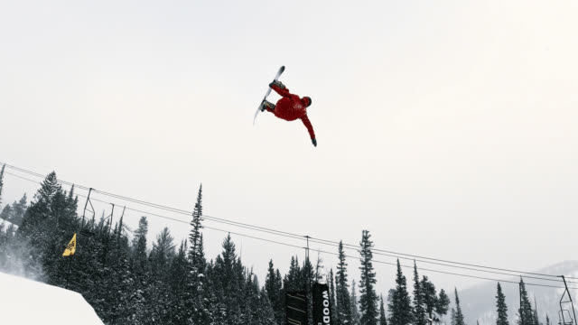 Slow Motion Shot of Snowboarder in Full Winter Gear Completing a
