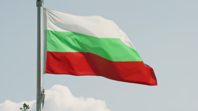 Slow Motion Shot of the Flag of Bulgaria Blowing in the Wind on a Sunny Day