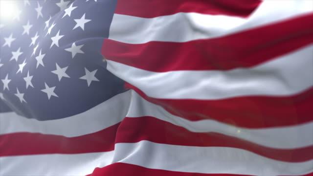 vídeos y material grabado en eventos de stock de disparo a cámara lenta de la bandera de los estados unidos con destello de lente - american flag