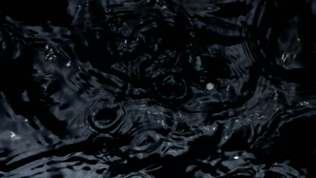 slow motion shot プールの水に水が滴っています。 - 黒色点の映像素材/bロール