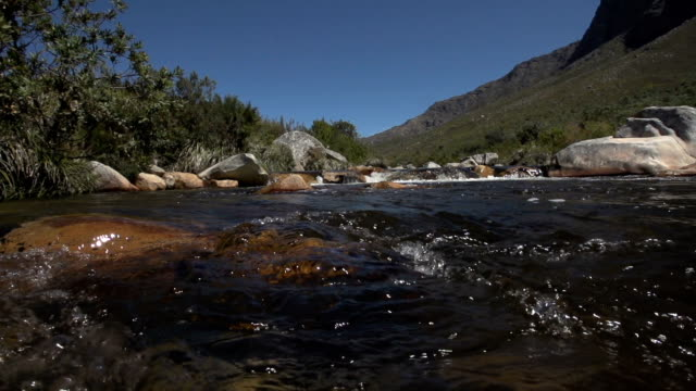 Slow motion shot of water flowing over rocks in river, taken from water level with mountain in the background video