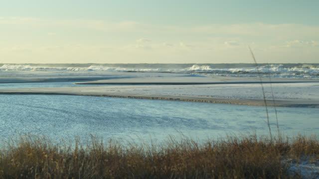 Slow Motion Shot of Waves Crashing on Grayton Beach