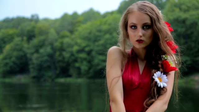 slow motion shot. portrait of mysterious girl with creative make-up - gothic fashion stock videos and b-roll footage