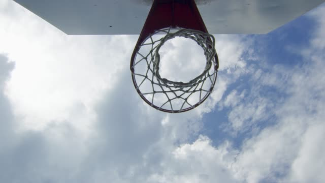 Slow motion shot to and from basketball net video