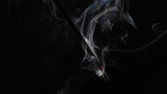 Slow motion smoke from aromatherapy stick video