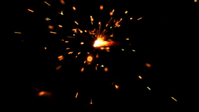 Slow motion sparkler burning video