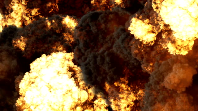 Slow motion special effect of a large realistic fire explosion on a black background 4K Realistic computer graphics of a big fire explosion on a black background 4K explosion stock videos & royalty-free footage