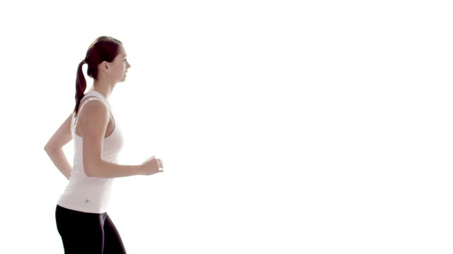 Slow motion sports woman running