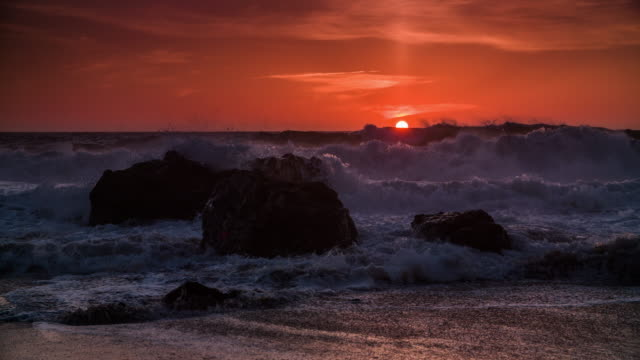 Slow Motion: Sunset over the Sea, Big Sur - California video