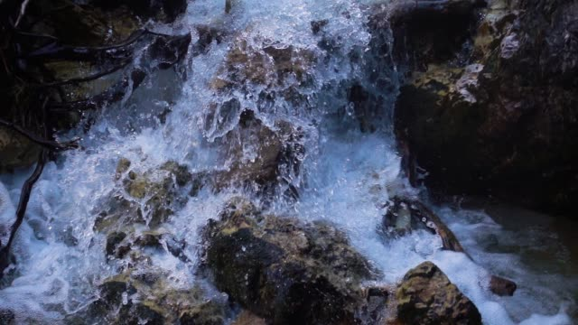 slow motion surface  water at the mountain river