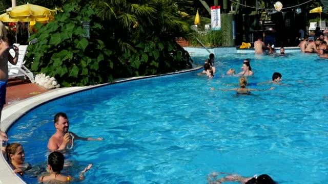 Slow motion: swimming pool panning video