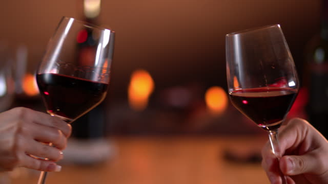 Slow motion toast with red wine video