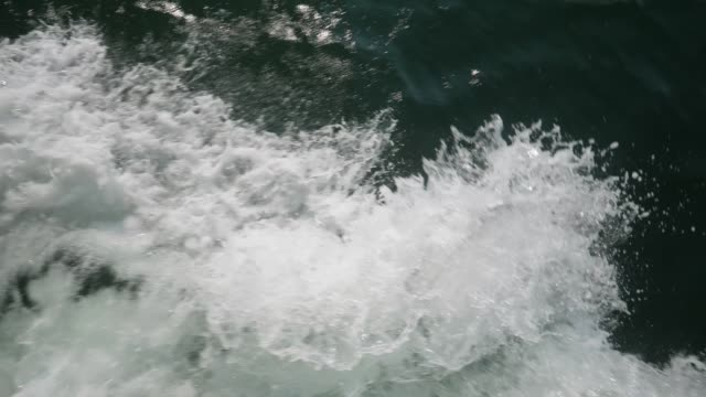 Slow Motion Top Down View of Ship Wake video