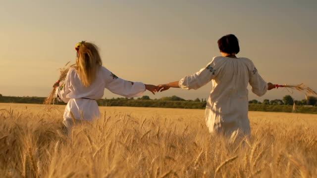 zeitlupe, zwei schönen frauen in nationalen hemden mit weizen ährchen in händen laufen entlang weizenfeld und halten die hände - haarfarbe stock-videos und b-roll-filmmaterial