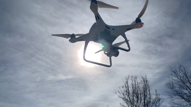 Slow Motion UAV Drone Aircraft Flying IN Sky Silhouetted In the Sun Slow Motion UAV Drone Aircraft Flying IN Sky Silhouetted In the Sun. propeller stock videos & royalty-free footage