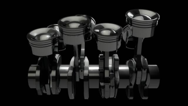 Slow Motion V8 Engine Pistons On A Crankshaft - Loop video