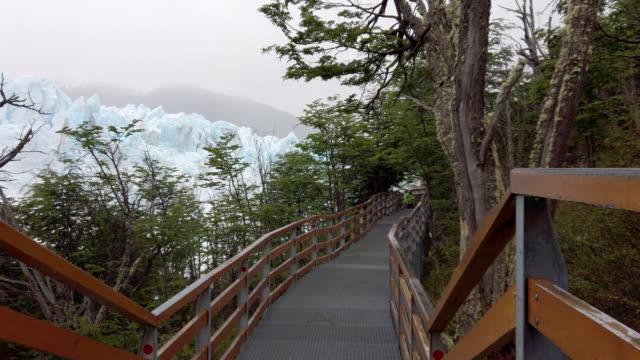Slow motion video of an empty boardwalk near Perito Moreno Glacier in Patagonia, Argentina video