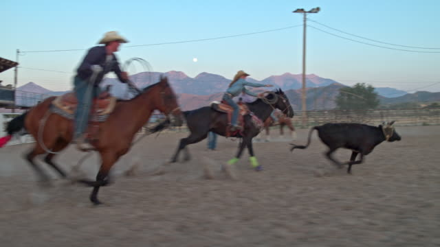 Slow-Motion-Video mit dem Lasso Rinder beim Rodeo Cowboys – Video